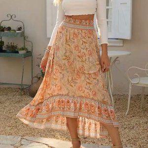 Beautiful Boho Midi/Maxi Skirt in Old Rose